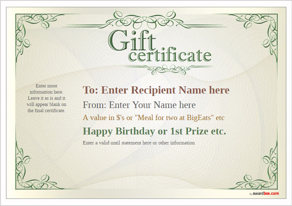 free printable gift certificate template designs for home With full page gift certificate template