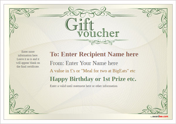 Free Gift Voucher Template Designs To Print Or Download.