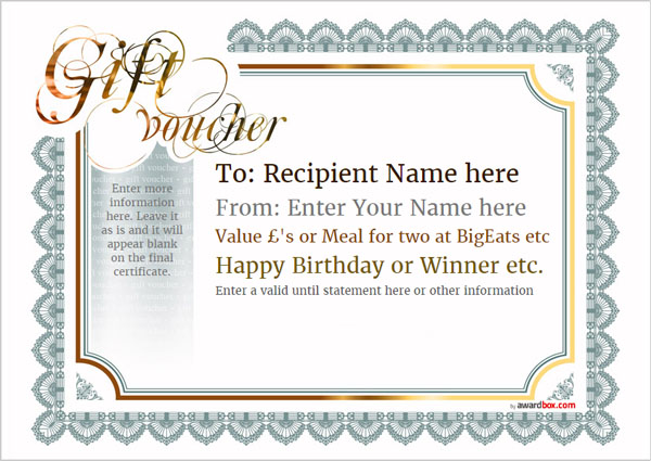 Gift Voucher Template Classic Design 3 Full Page Image  Create Your Own Voucher Template