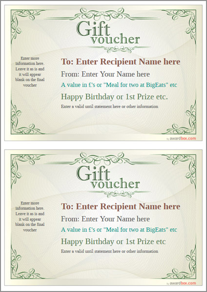 gift voucher template classic design 2 two to a page Image