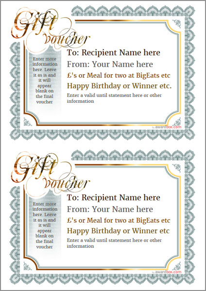 gift voucher template classic design 3 two to a page Image