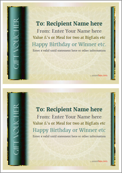 gift voucher template classic design 4 two to a page Image