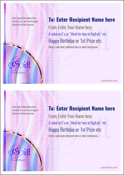 gift voucher template modern design 4 two to a page Image