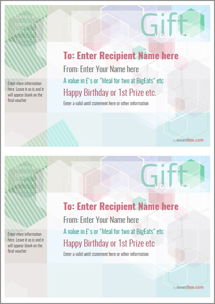 gift voucher template modern design 5 two to a page Image