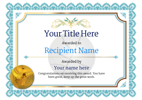 Free Basketball Certificate Templates  Add Printable Badges  Medals