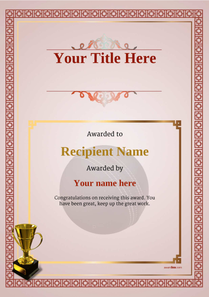 Stunning cricket certificate templates pictures inspiration free cricket certificate templates add printable badges medals yadclub Images