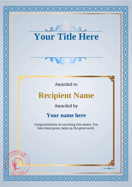 certificate-template-fishing-classic-5bfsr Image