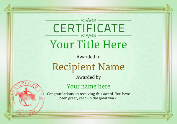 certificate-template-horse-riding-classic-4ghsr Image