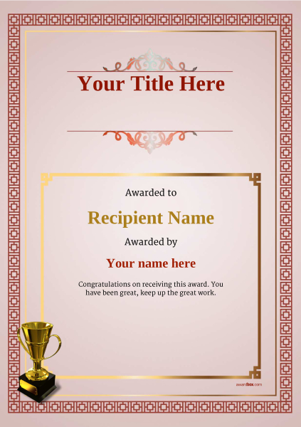certificate-template-skiing-classic-5rt4g Image