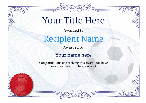 Free Uk Football Certificate Templates  Add Printable Badges  Medals