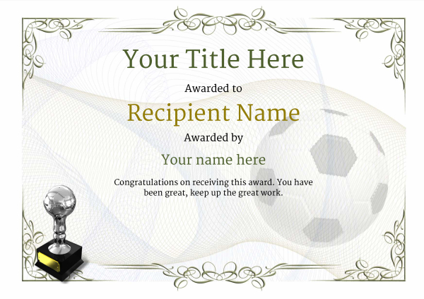 Free Soccer Certificate Templates  Add Printable Badges  Medals