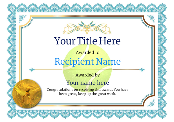 Free tennis certificate templates add printable badges medals certificate template tennis classic 3blmg image yadclub Choice Image