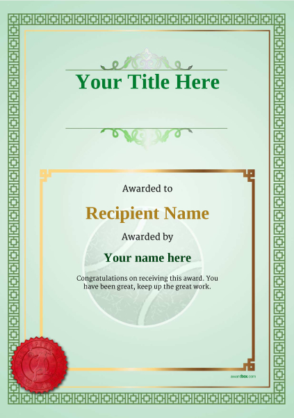 certificate-template-tennis-classic-5glsr Image