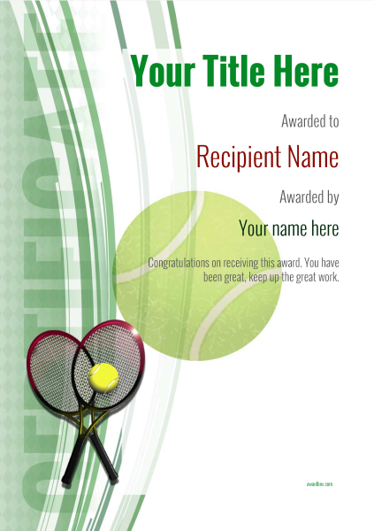 free tennis certificate templates add printable badges