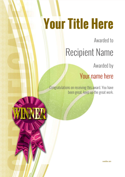 certificate-template-tennis-modern-1ywrp Image