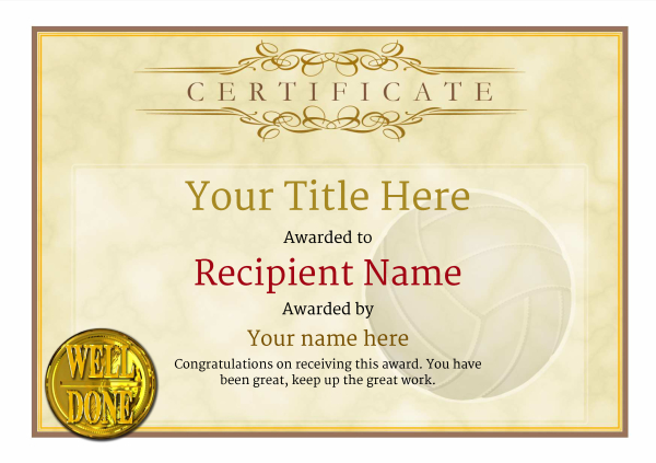 certificate-template-volley-ball-classic-1ywnn Image