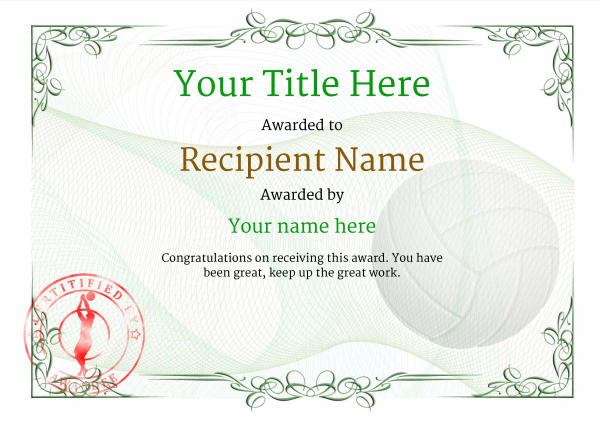 certificate-template-volley-ball-classic-2gvsr Image