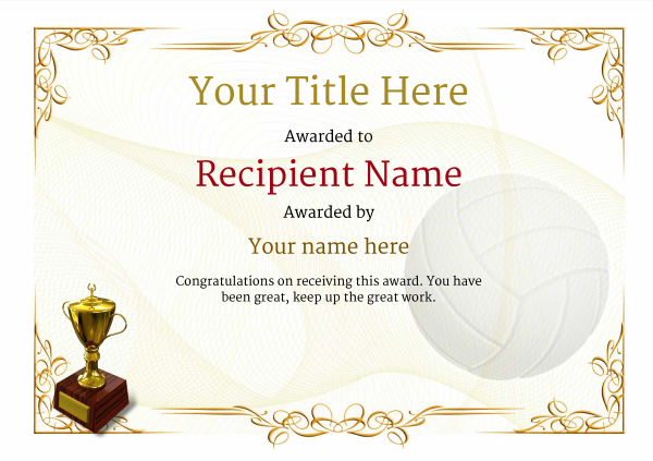 certificate-template-volley-ball-classic-2yt2g Image