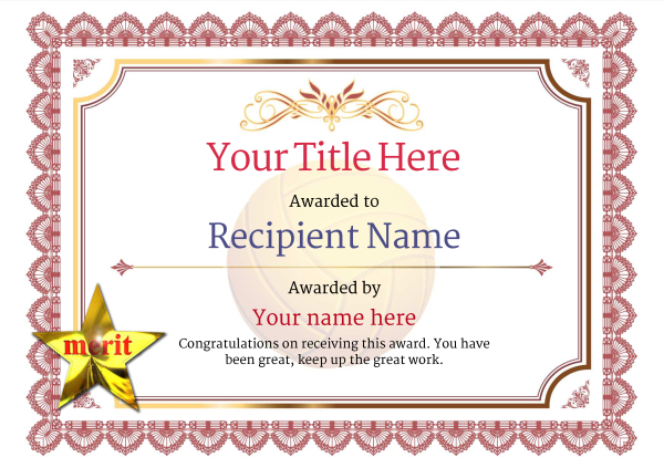 certificate-template-volley-ball-classic-3rmsn Image