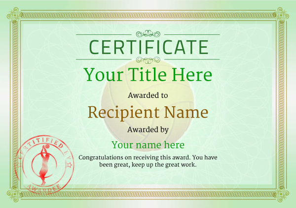 certificate-template-volley-ball-classic-4gvsr Image