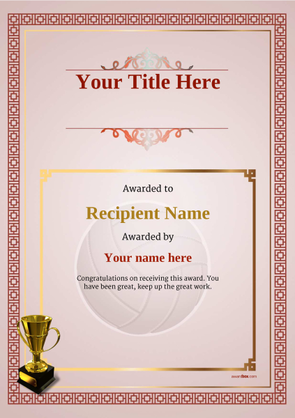 certificate-template-volley-ball-classic-5rt4g Image