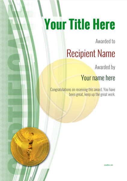 certificate-template-volley-ball-modern-1gvmg Image