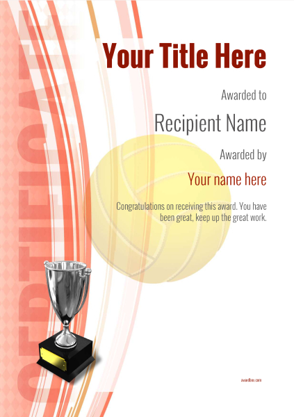 certificate-template-volley-ball-modern-1rt5s Image