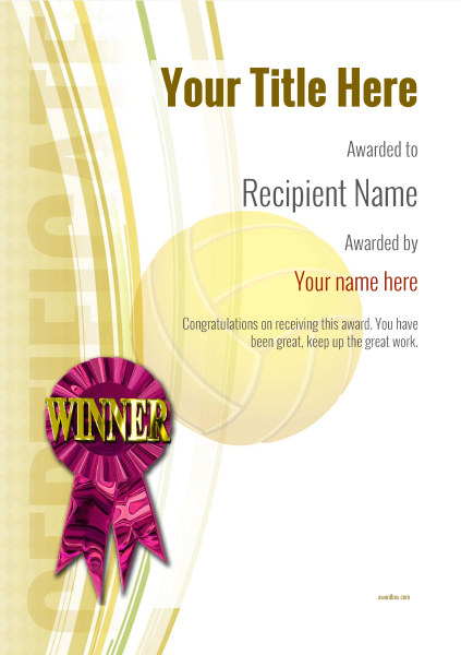 certificate-template-volley-ball-modern-1ywrp Image