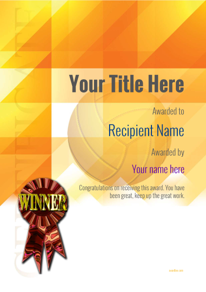 certificate-template-volley-ball-modern-2dwrr Image