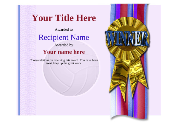 certificate-template-volley-ball-modern-4dwrg Image