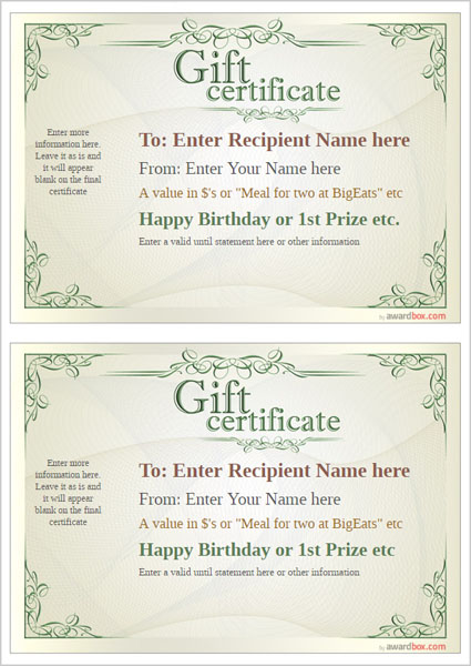 gift certificate template classic design 2 two to a page Image