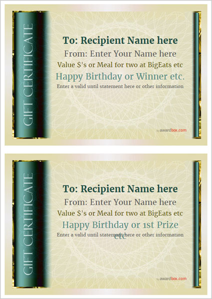 gift certificate template classic design 4 two to a page Image