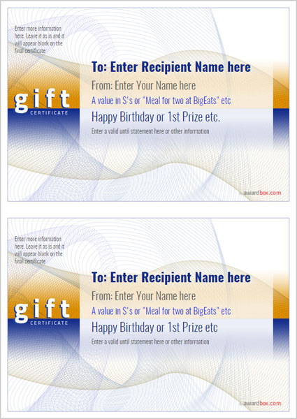 free printable business gift certificates