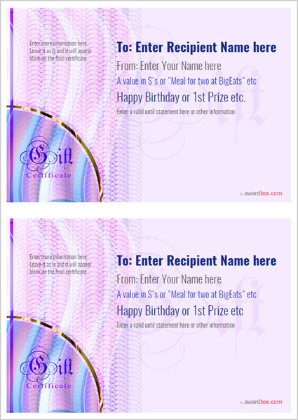 gift certificate template modern design 4 two to a page Image