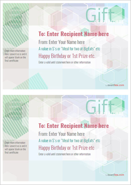 gift certificate template modern design 5 two to a page Image