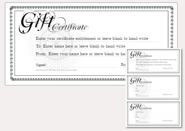 Free Printable Gift Certificate Template designs for home, fun or ...