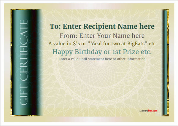 gift certificate template classic design 4 full page Image