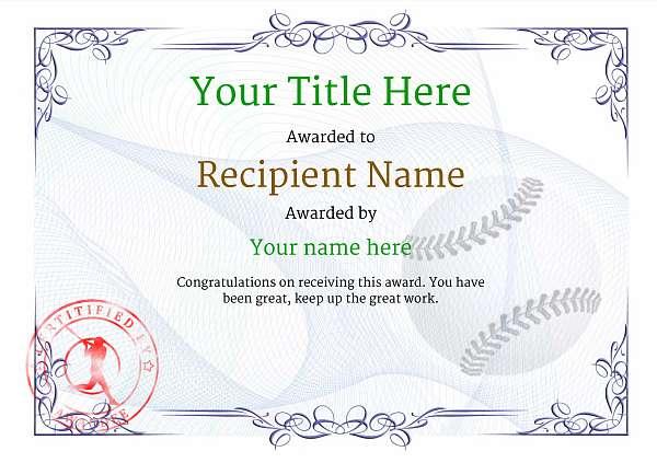 free baseball certificate templates