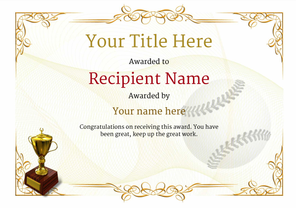 use free baseball certificate templates by awardbox