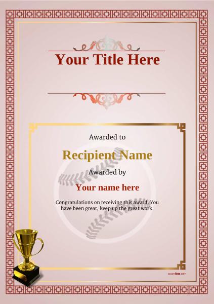 Use Free Baseball Certificate Templates By Awardbox