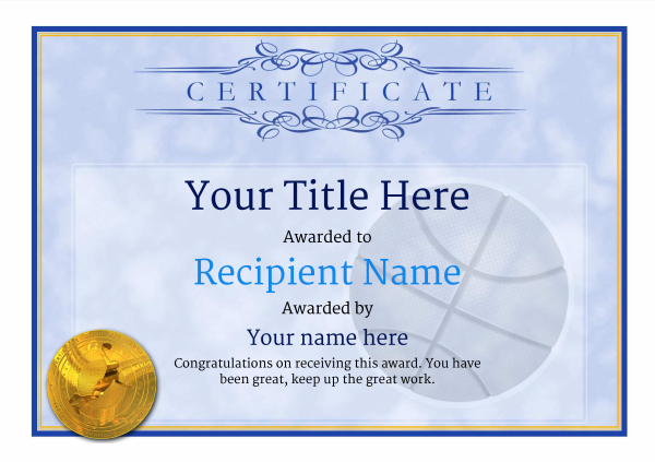 Free basketball certificate templates add printable badges medals certificate template basketball classic 1bbmg image yelopaper