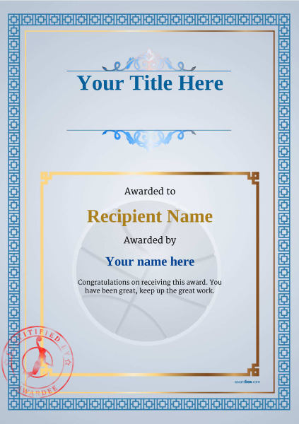 Free basketball certificate templates add printable badges medals certificate template basketball classic 5bbsr image yelopaper