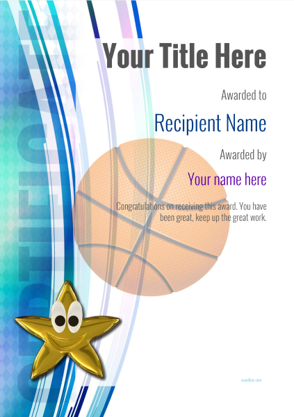 Free basketball certificate templates add printable badges medals certificate template basketball modern 1dsnn image yelopaper Gallery