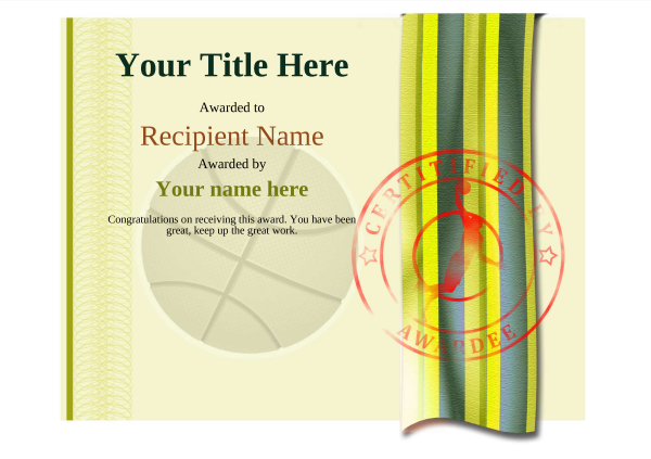 certificate-template-basketball-modern-4ybsr Image