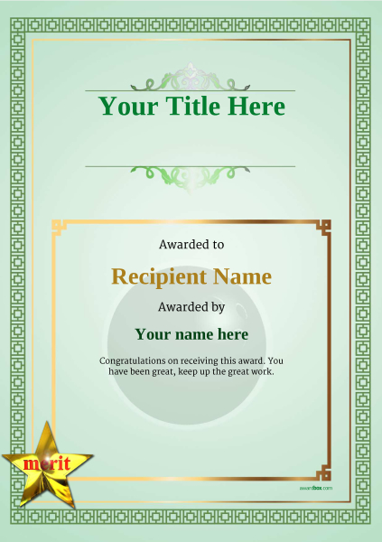 certificate-template-bowling-classic-5gmsn Image