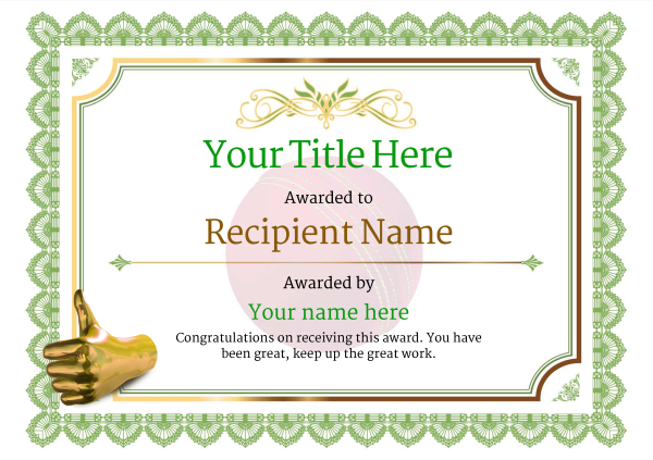 Free cricket certificate templates add printable badges medals certificate template cricket classic 3gtnn image yelopaper Choice Image