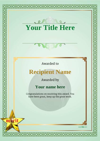 certificate-template-cricket-classic-5gmsn Image