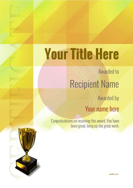 Free Cricket Certificate Templates Add Printable Badges Medals