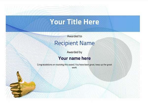 certificate-template-cricket-modern-3btnn Image