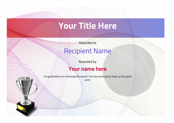 certificate-template-cricket-modern-3dt4s Image